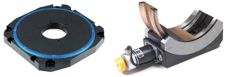 (left) U-651 low profile rotation stage based on ceramic direct-drive motors (Image: PI) (right) High precision motorized goniometer cradle (Image: PI miCos)