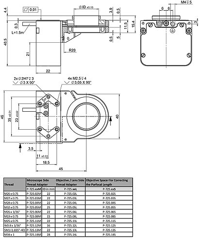 P-725.1CDE2 and P-725.4CDE2, dimensions in mm (please order adapter separately)