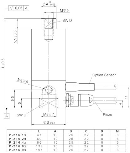 P-216, dimensions in mm