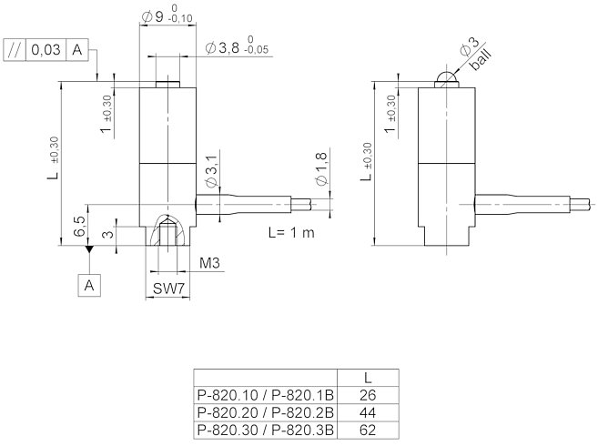 P-820, dimensions in mm