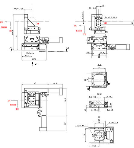 F-122.5DC, dimensions in mm. Note that the decimal places are separated by a comma in the drawings.