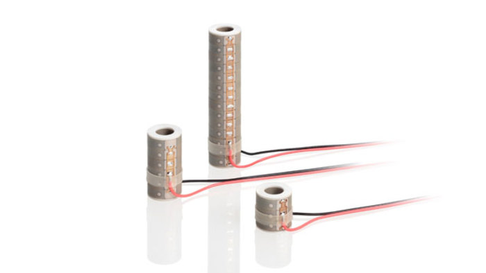 These tubular multilayer stack actuators (ring actuators) run on lower voltage and provide higher forces than conventional piezo tubes. They extend axially when a voltage is applied. They are manufactured from cofired multilayer elements.