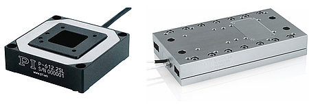 (left) P-612: a compact XY nanopositioning stage based on piezo drives and frictionless flexure guides: 100µm travel range   (right) N-664: a linear nanopositioning stage, based on a PiezoWalk linear motor, combines piezo-class resolution with long travel ranges found in traditional positioning stages. The piezo motor is inherently stiff and self-clamping, providing better position stability compared to traditional drive technologies. (Image: PI)