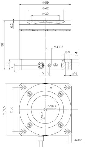 S-340, dimensions in mm. The general tolerance according to DIN ISO 2768-f-H applies to all nontolerated dimensions.