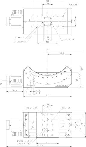 65609210, WT-120 goniometer with stepper motor, dimensions in mm. Note that a comma is used in the drawings instead of a decimal point.
