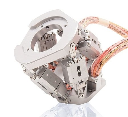 Fig 3.3 Compact, UHV-compatible, nonmagnetic hexapod based on miniature-NEXLINE® actuators. (Image: PI)