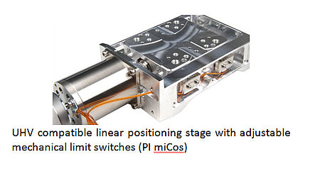 UHV compatible linear positioning stage with adjustable mechanical limit switches (PI miCos)