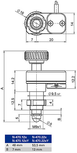 N-470 with clamping shank, dimensions in mm. Note that a comma is used in the drawings instead of a decimal point.. Note that the decimal places are separated by a comma in the drawings.