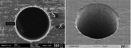 (left) Ø64µm hole produced with a vibratory-spindle equipped die-sinking EDM machine shows extremely good concentricity and cylindricity with deviation of only 1 micrometer (Image: ICT-IMM) (right) A Ø20µm hole, produced with the same process (Image: ICT-IMM)