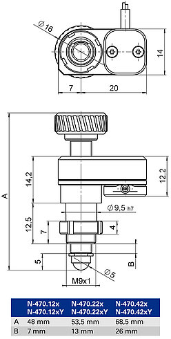N-470 with clamping shank, dimensions in mm. Note that the decimal places are separated by a comma in the drawings.