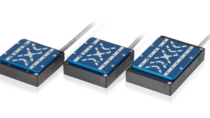 The V-52x series of voice-coil-driven linear stages come in 3 sizes and provide high-dynamics over travel ranges of 5mm, 10mm, and 20mm. Applications include optics scanning, fiber alignment, biotechnology, and laser technology. These compact linear scanning stages achieve significantly higher dynamics and speed than conventional screw-type positioners with stepper and servo motors; scanning frequencies of several 10Hz with velocities up to 250mm/sec can be achieved with the recommended C-413 compact controller. The design uses no moving cables and the frictionless voice-coil drive is not subject to wear & tear and generates no particles.