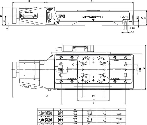 L-509 versions with stepper motor, dimensions in mm. Note that a comma is used in the drawings instead of a decimal point.
