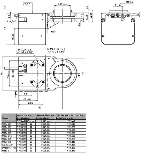 P-725.8CDE2, dimensions in mm (please order adapter separately)