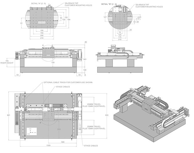 A-351 gantry system, dimensions in mm