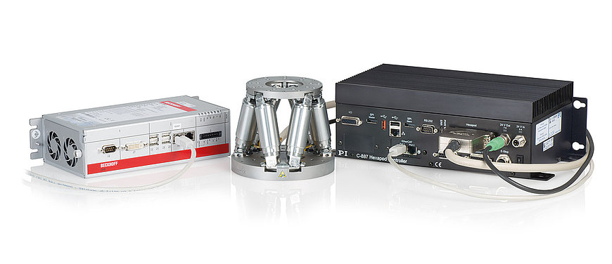Example configuration: H811.D2 miniature hexapod with C-887.532 motion controller with EtherCAT interface and motion stop. The EtherCAT master, here a Beckhoff controller, is provided and programmed by the customer.