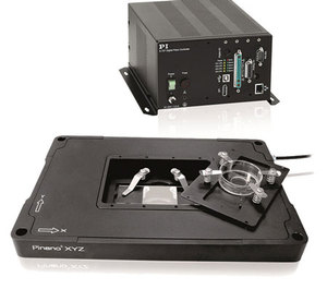 A PInano® XYZ piezo flexure stage system, complete with digital servo controller and software.