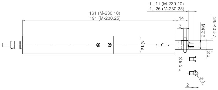 M-230, dimensions in mm