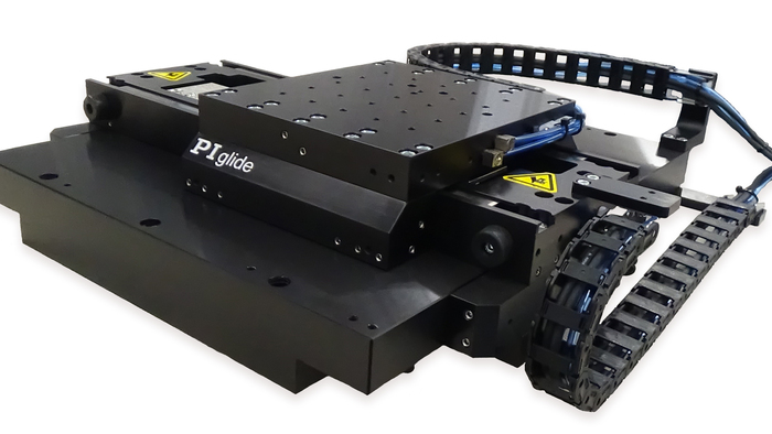 The PIglide IS planar XY air-bearing stage is a low profile, high precision alternative to stacked XY stages. The fully preloaded air bearing puck floats in both X and Y directions on a common base, providing smooth, frictionless motion. Ideal for inspection, laser marking, microscopy, scanning, and other precision motion applications. The efficient, compact design saves space in tight machine designs. Ironless linear motors provide smooth motion with no cogging or attractive forces. Optical linear encoders provide position feedback information down to 1nm, depending on interpolation.   The PIglide IS can be coupled with a variety of industry-leading digital controls and drives that offer advanced algorithms to improve dynamic performance and error compensation and a wide suite of software development tools.