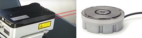 (left) Linear measuring device: Renishaw XL-80 interferometer, with reference mirror 25 mm above the motion platform. (Image: Renishaw) (right) Rotational measuring device: Heidenhain RON-905 (Image: Heidenhain)