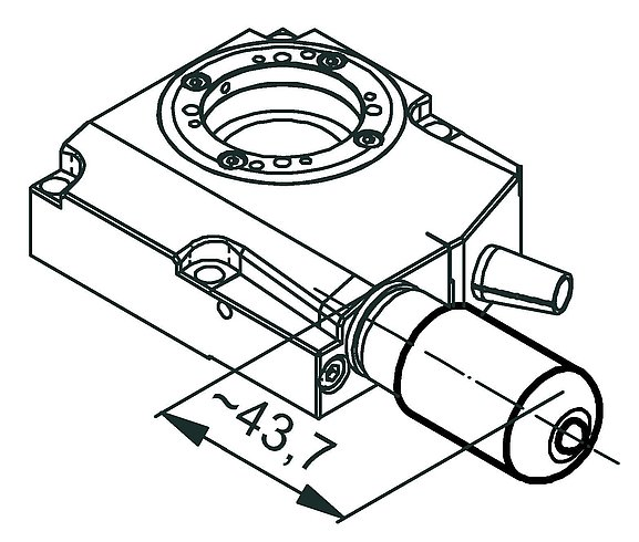 RS-40 rotation stage, stepper motor, dimensions in mm. Note that a comma is used in the drawings instead of a decimal point.
