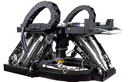 The high precision Ovali hexapod with six motion legs, 6 linear encoder struts and additional integrated motion axes. (Image: PI miCos)