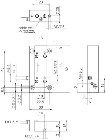 P-753.2, dimensions in mm. Max. torque at the M2.5 threads: 0.3Nm.