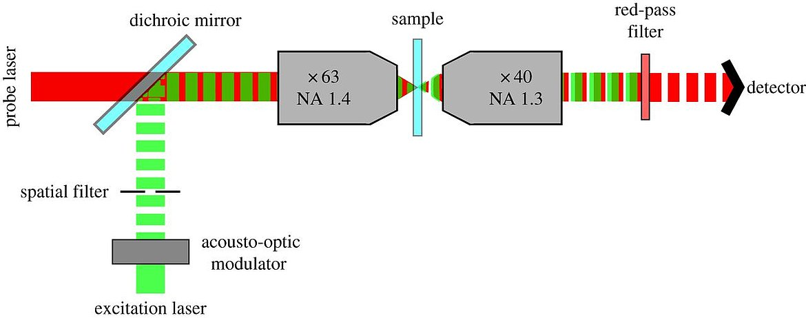 Basic design of a photothermal microscope: the sample can be scanned with a piezo stage. (Source: D. J. Nieves, Y. Li, D. G. Fernig, R. Lévy)
