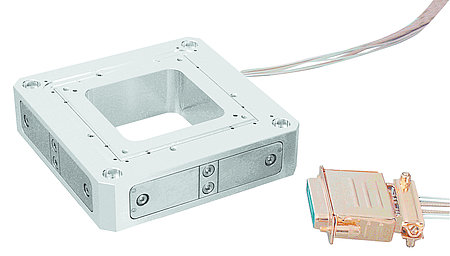 A flexure guided, UHV compatible XYZ piezo nanopositioning stage (Image: PI)