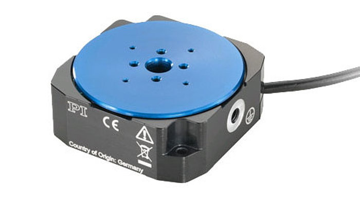 The U-628 ultrasonic-motor-driven small rotation stage provides high velocity to 720°/second. It is equipped with an optical, direct metrology encoder, and due to its self-clamping motor design, boasts very high position stability.