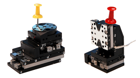 XZ and XY-Theta-Z configuration examples of Q-522 linear and Q-622 rotary positioning stages