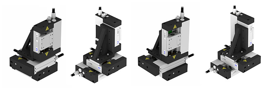 Comparison of XYZ assemblies consisting of three linear stages: L-505.013212F (left) and L-505.023212F (right)