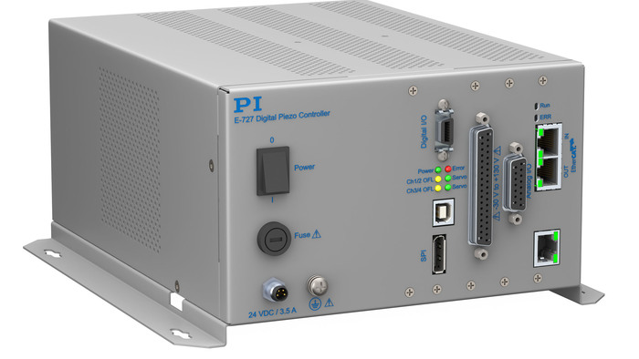 The E-727 is a high-performance, cost-effective 3/4 channel digital-servo piezo controller. It features low-noise, 20-bit DAC & ADC converters and integrated power amplifiers for multilayer piezo drives with operating voltage of -30 to +130V. Closed-loop operation of piezo mechanisms with strain gauge and capacitive feedback sensors. In addition to proportional-integral filters, 2 additional user programmable notch filters are implemented for suppression of resonances. Linearization based on 4th order polynomials provides higher positioning accuracy. The Dynamic Digital Linearization (DDL) feature eliminates non-linearities at high operating frequencies.