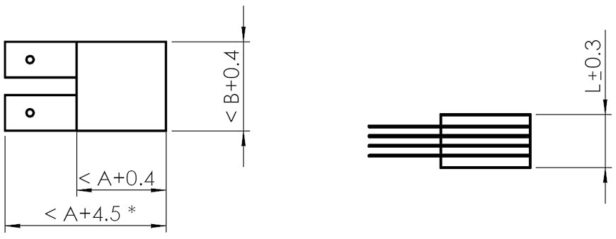 PICA Shear P-1xx.xxT actuators. A, B, L, see data table. Dimensions in mm. The number of axes and wires depends on the type. (* <A+2.5 with cross section 3 × 3)