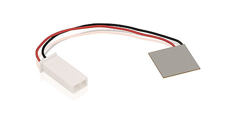 Connectorized piezo patch element – the piezo transducer is the size of a postage stamp, measuring only 20x20x0.5mm. (Image: PI Ceramic)