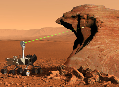 Rendering of Mars Rover with laser beam for Laser Induced Breakdown Spectrometry (LIBS) (Image: NASA/JPL)