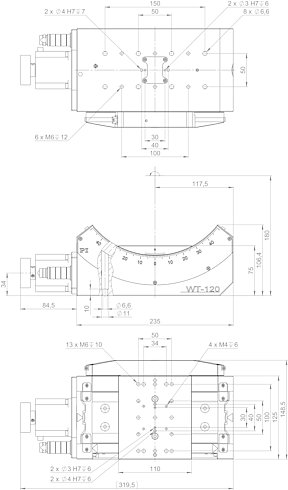 65609211, WT-120 goniometer with stepper motor and incremental angle measuring system, dimensions in mm. Note that a comma is used in the drawings instead of a decimal point.