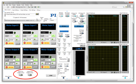 The example GUI provides intuitive access to key FMPA functionality. Shown: double-sided XYZ waveguide alignment. Novel cap-sensor-enabled fly-height control is circled. (Image: PI)