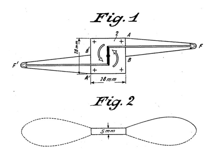 Piezoelectric oscillating element to obtain mechanical movement as described in an early US Patent by Meissner, US Patent 1,804,838 A, 12 May 1931.