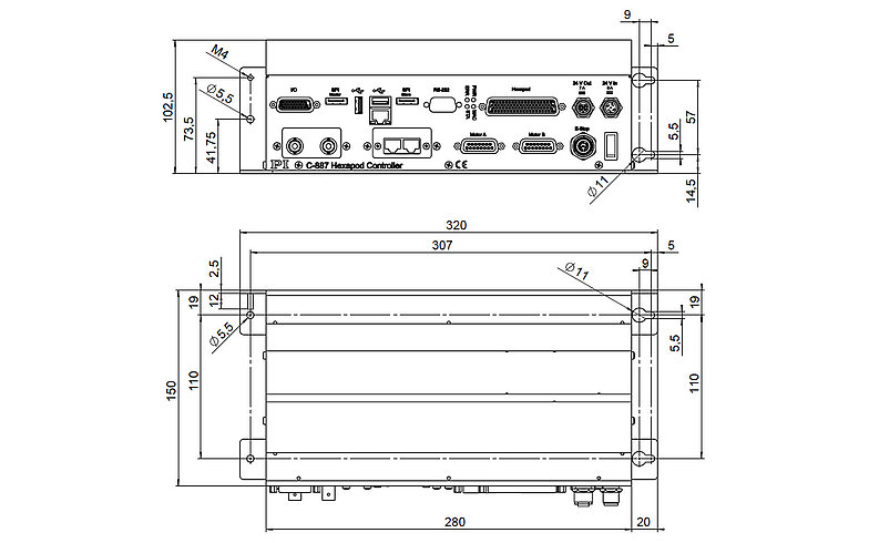 C-887.5xx, dimensions in mm. Version-dependent interfaces