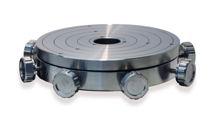 The PIglide MTT series of manual alignment tabletops can manually adjust a payload mounted to a rotary air bearing in four degrees of freedom, allowing alignment of the payload to the bearing's axis of rotation. Adjustments can be made in two linear orthogonal directions (X and Y) and in two angular directions (tip and tilt).   The tabletop surface is made from durable, wear- resistant stainless-steel. This accessory is ideal for metrology, roundness measurement, and part gauging applications.