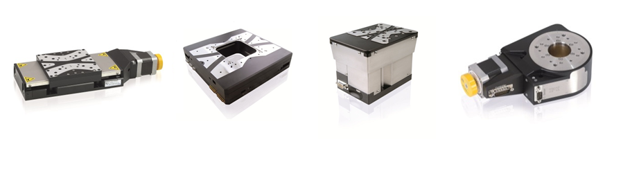 Several stepper motor driven precision positioning stages from PI miCos: (left to right) L-511 linear stage (former PRS-110), MCS Planar XY stage, L-310 Z-axis stage (former ES-100), L-611 rotation stage (former PRS-110) (Image: PI miCos)