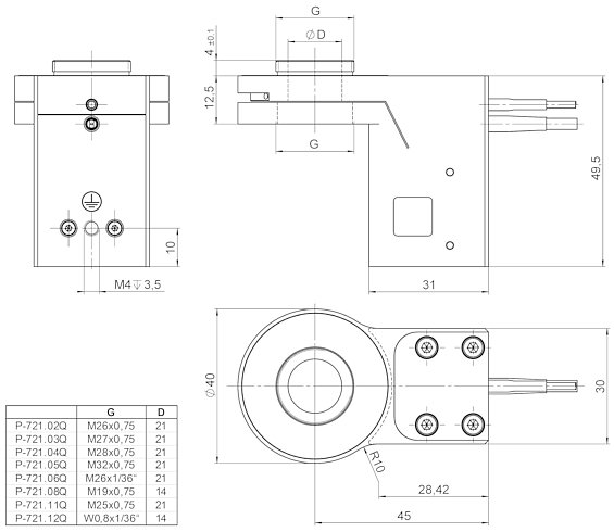 PD72Z1xAQ / PD72Z1xA0, dimensions in mm. P-721.xxQ: Suitable PIFOC QuickLock thread adapters.