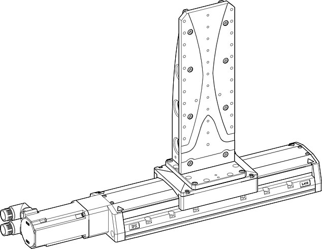 The L-500.AV1 adapter bracket was mounted onto an L-412.099232 high-load linear stage (adapter bracket on positioner).