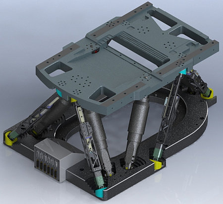 Ovali Hexapod with customized top plate. In addition to the 6 active struts for positioning, 6 more linear-encoder equipped sensor struts are implemented to achieve new levels of accuracy. (Image: PI miCos)