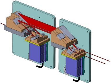 Principle design of the double monochromator. The upper crystal is fixed while the lower one is adjusted using a PI PiezoWalk® tip-tilt stage (Image: ESRF, France)