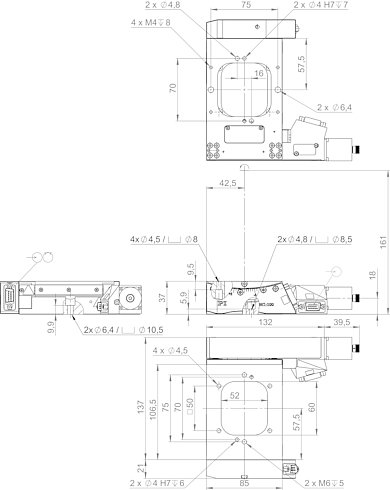 65419201-0001, WT-100 goniometer with stepper motor and incremental angle measuring system, dimensions in mm