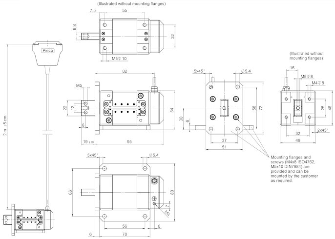 N-216, dimensions in mm. Mounting flanges for side or front mounting are included in the delivery.