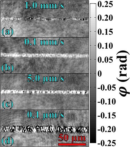 Phase images of modifications produced at the indicated writing speeds. (a), (c), and (d) exhibit unwanted micro-cavities (dark spots), while (b) shows a homogeneous positive phase shift, corresponding to a refractive index change ∆n≈5.3×〖10〗^(-3), which is sufficient to guide light. (Source: LP3 Laboratory)