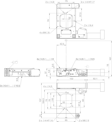 65419101, WT-100 goniometer with DC motor and incremental angle measuring system, dimensions in mm. Note that a comma is used in the drawings instead of a decimal point.