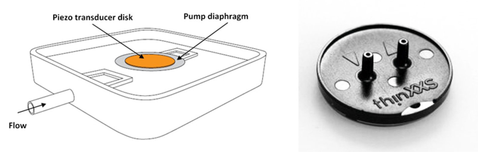 Left Piezoceramic Disks Can Be Attached To The Membrane Of A Micropump And Thus Move It With High Frequency Image PI Right Piezo Transducer Driven